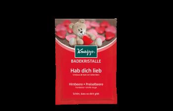 Sůl do koupele Kneipp Miluji Tě s přírodním výtažkem z malin a pečujícím brusinkovým olejem